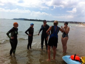 Checking everyone ok after the swim session