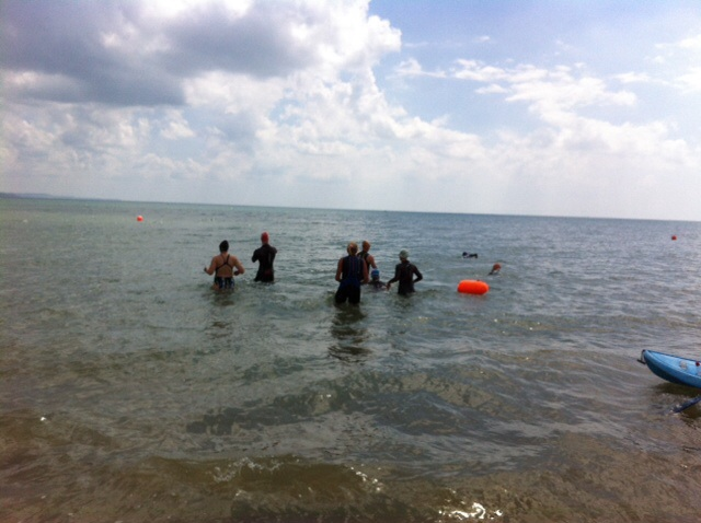 Open water skills swim session .